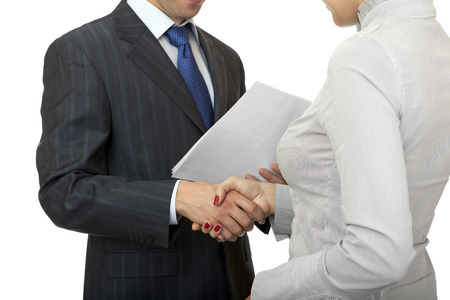 Handshake man and women. Greeting business people. Standard-Bild