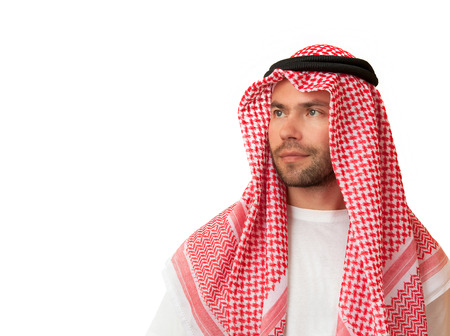 brighter: Looking to a brighter future. Man in Arabic headdress. Stock Photo