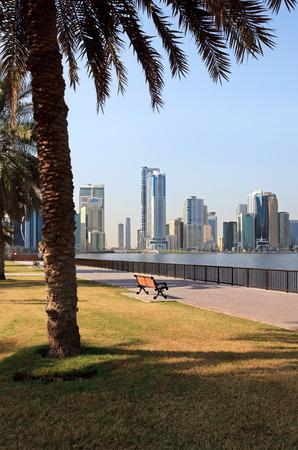embankment: Embankment of Khalid Lagoon. Sharjah in UAE