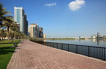 sharjah: Embankment. Khalid Lagoon. Sharjah in the UAE
