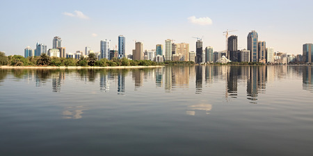 sharjah: Skyscrapers in Sharjah. Khalid Lagoon.UAE.