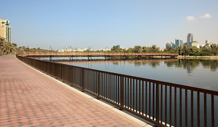 sharjah: Bridge to the island in Khalid Lagoon in Sharjah.