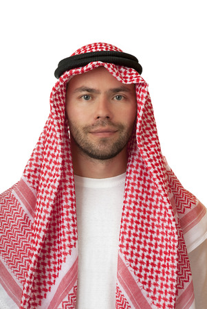keffiyeh: Friendly man in Arabic headdress. Isolated background. Stock Photo
