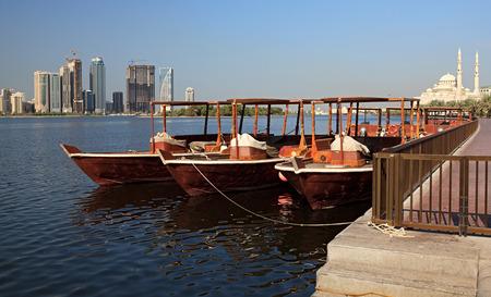 sharjah: Water Taxi in Sharjah. Khalid Lagoon. UAE