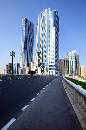 sharjah: Modern skyscrapers in Sharjah in the UAE. Stock Photo