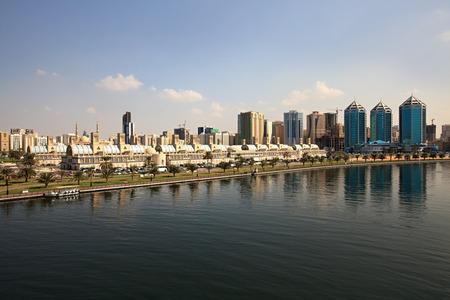 souq: Sharjah Central Souq. Khalid Lagoon in the UAE.
