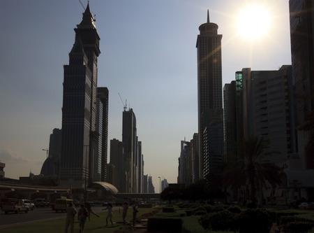 merciless: Scorching sun of the big city. Dubai. UAE.
