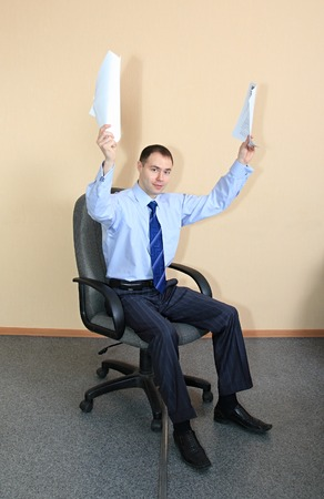 presentiment: A businessman is glad to the successful transaction. Stock Photo