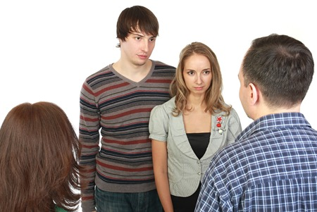 young fellow: Meeting of young pair with parents. Stock Photo
