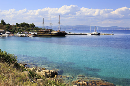 Ships in the harbor of Ormos Panagias in Sithonia 스톡 콘텐츠