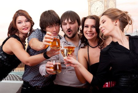 The Cocktail party. Young people having fun. Stockfoto
