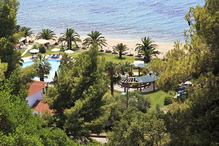 sithonia: Beach in Athena Pallas Village. Penisola di Sithonia in Grecia.