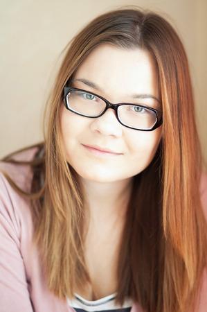 black rimmed: The Black rimmed glasses on the girl. Stock Photo