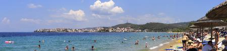 sithonia: Sithonia, Greece - July 20, 2014: Neos Marmaras. View from beach of Porto Carras Sithonia.