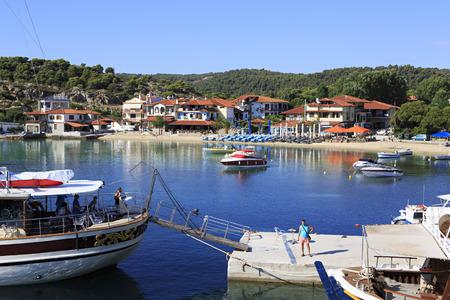sithonia: Ormos Panagias, Greece - July 11, 2014: Bucht at the Ormos Panagias in Sithonia Editorial