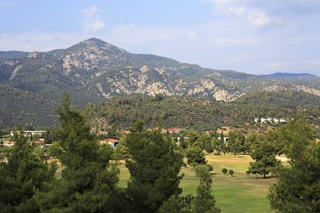 sithonia: Sithonia, Greece - July 19, 2014: Mountains and territory of Porto Carras Grand Resort. Sithonia.