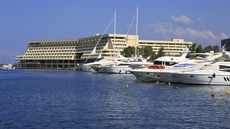 sithonia: Sithonia, Greece - July 20, 2014: Largest private dock of the Porto Carras Meliton.