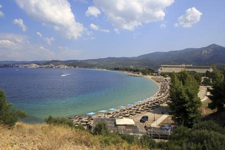 sithonia: Sithonia, Greece - July 20, 2014: Beautiful beach of Porto Carras Grand Resort. Sithonia.