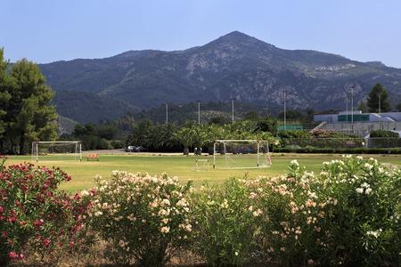 sithonia: Sithonia, Greece - July 20, 2014: Football field at Porto Carras Grand Resort. Sithonia.
