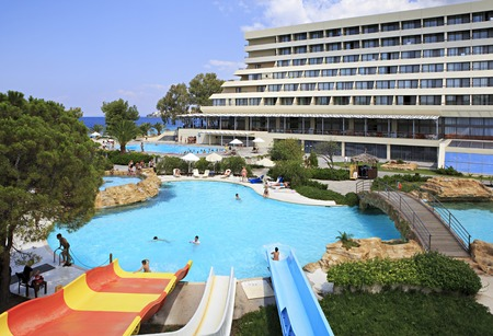 sithonia: Sithonia, Greece - July 20, 2014: Water park and pool at Porto Carras Sithonia. Editorial