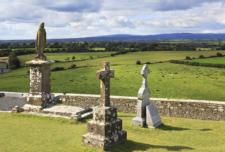 county tipperary: Cashel, Ireland - August 22, 2014: Ancient cemetery in the Rock of Cashel. County Tipperary in Ireland.