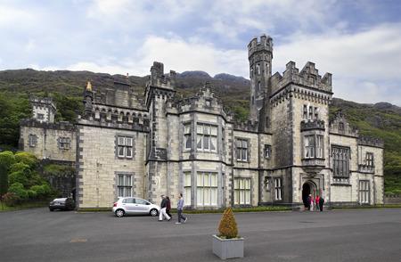 connemara: Connemara, Ireland - August 26, 2014: Kylemore Abbey. National park Connemara in Ireland. Editorial