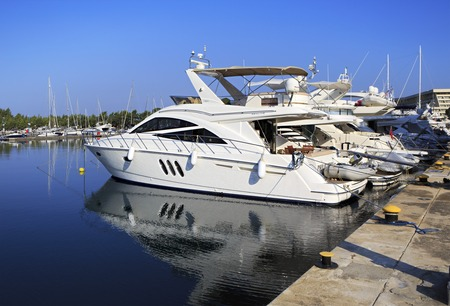 sithonia: Sithonia, Greece - July 18, 2014: Porto Carras Grand Resort. Largest private dock in northern Greece.