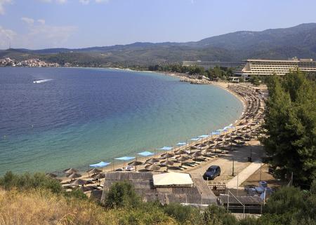 sithonia: Sithonia, Greece - July 20, 2014: Paid beach of Porto Carras Grand Resort. Editorial
