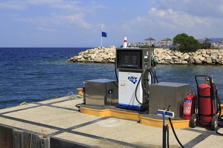 sithonia: Sithonia, Greece - July 20, 2014: Point for refueling at the dock. Largest private dock in northern Greece.