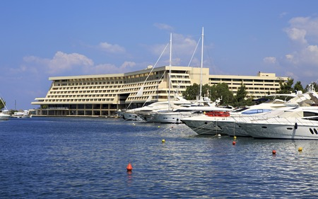 sithonia: Sithonia, Greece - July 20, 2014: Yachts and Porto Carras Meliton. Largest private dock in northern Greece.