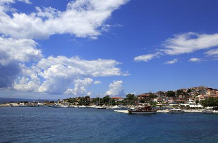 sithonia: Neos Marmaras. Beautiful town on the Sithonia peninsula. Stock Photo