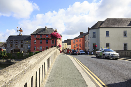 Kilkenny, Ireland - August 23, 2014: Bridge over the River Nore in Kilkenny. Ireland