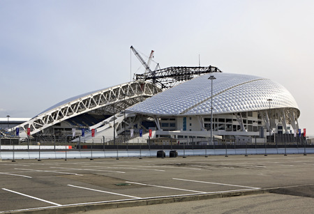 olympic stadium: Sochi, Russia - February 15, 2015: Fisht Olympic Stadium is being reconstructed.