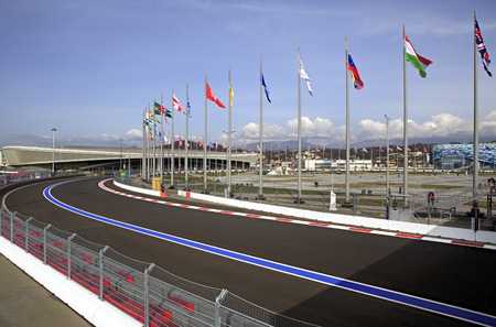 previously: Sochi, Russia - February 15, 2015: Sochi Autodrom previously known as the Sochi International Street Circuit. Formula 1 Russian Grand Prix 2014 Editorial