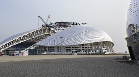 reconstructed: Sochi, Russia - February 15, 2015: Fisht Olympic Stadium is being reconstructed.