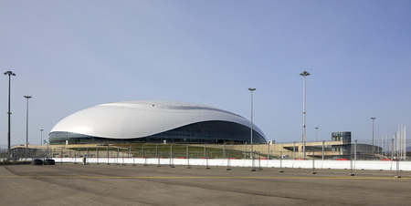 Sochi, Russia - February 15, 2015: Bolshoy Ice Dome. Arena will host HC Sochi, a newly founded team of KHL.