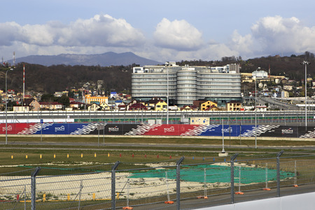 previously: Sochi, Russia - February 15, 2015: Rostrum of Sochi Autodrom previously known as the Sochi International Street Circuit. Editorial