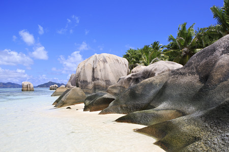 digue: Beautiful huge granite boulders on the beach Anse Source DArgent. Island of La Digue in Seychelles.
