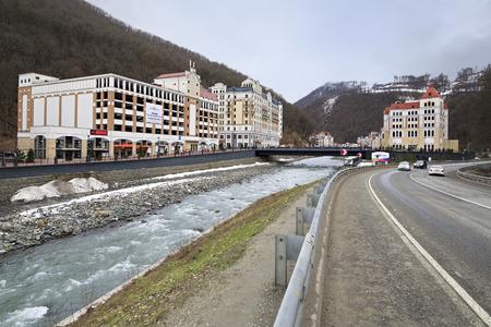 lodgings: Sochi, Russia - February 13, 2015: Rosa Valley in Rosa Khutor Alpine Resort in Sochi