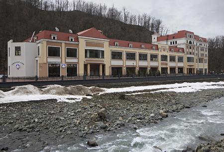 lodgings: Sochi, Russia - February 13, 2015: Architecture in Rosa Khutor Alpine Resort in Sochi