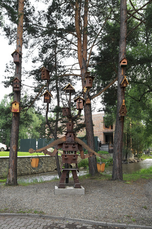 belokurikha: Belokurikha, Russia - August 02, 2013: composition of the birdhouses in the Altai-West Health resort Belokurikha. Editorial