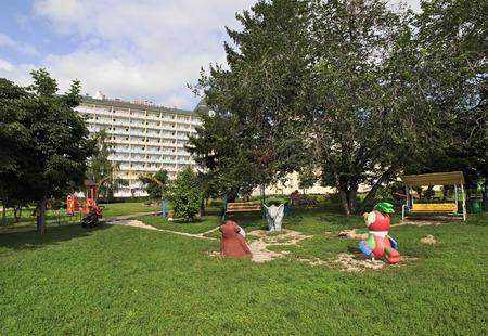 belokurikha: Belokurikha, Russia - August 06, 2013: Playground at the Sanatorium Belokuriha on the same resort.