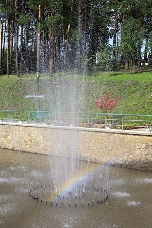 belokurikha: Belokurikha, Russia - August 07, 2013: Fountain in a Sanatorium Russia in the resort Belokuriha.