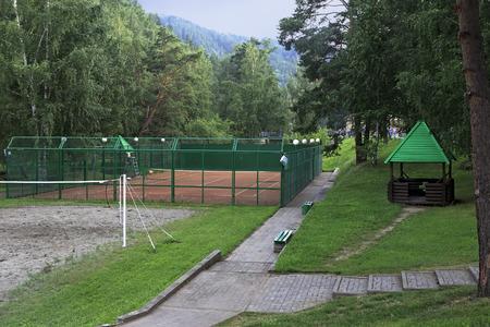 belokurikha: Belokurikha, Russia - August 07, 2013: Playground for tennis near the Restaurant Beershale in the resort Belokurikha.
