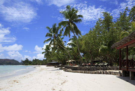 seychelles: Praslin Island, Seychelles - March 07, 2015: Beach Cote DOr near the hotel Paradise Sun Hotel Seychelles. Editorial