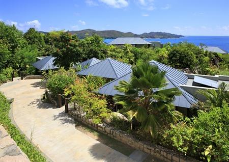 praslin: Praslin Island, Seychelles - March 10, 2015: Villas on the hotel Raffles Praslin Seychelles.