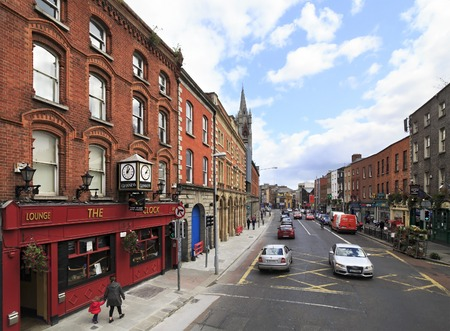 Dublin, Ireland - August 19, 2014: Central streets of the Dublin in Ireland.