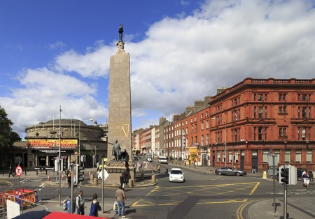 city centre: Dublin, Ireland - August 19, 2014: Memorial to Charles Steward Parnell Editorial