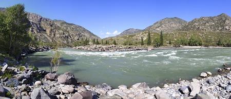 katun: Beautiful panorama of summer mountain river Katun. Stock Photo
