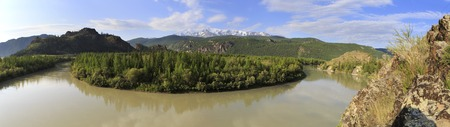north ridge: Chuya River and snow capped of North Chuya ridge.